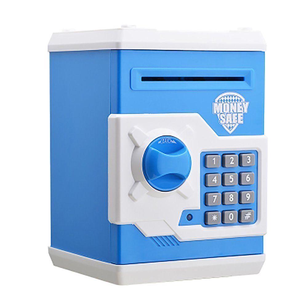 Kids money safe piggy bank money bank coin box electronic lock blue